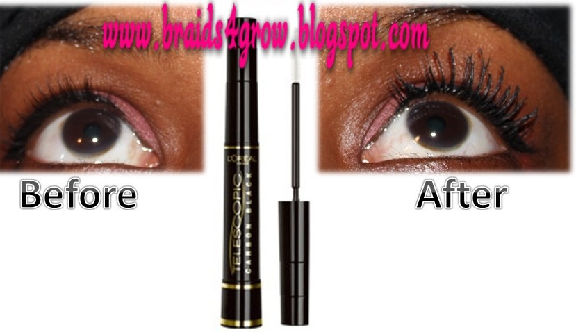 l�oreal telescopic carbon black mascara review with before
